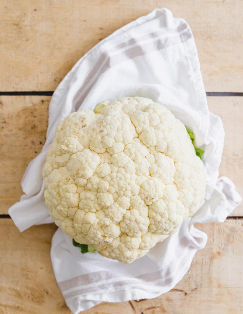 Head of raw cauliflower.