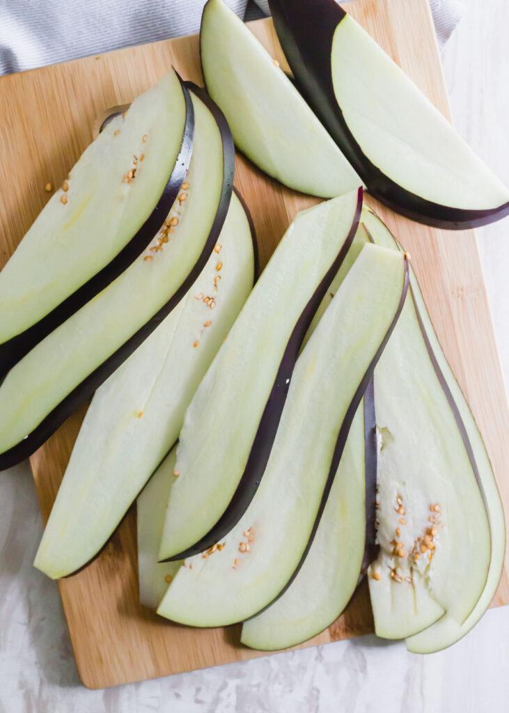How to cut eggplant to make eggplant jerky.