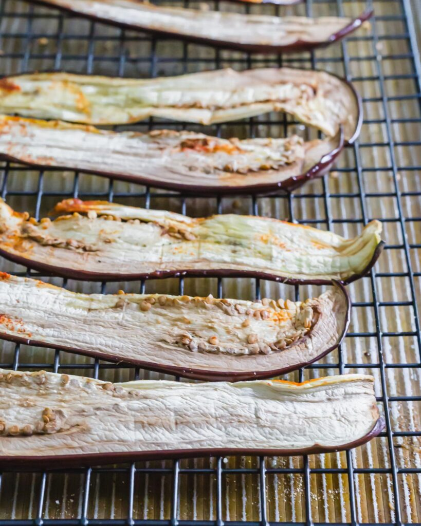 Dehydrated eggplant jerky recipe for humans or dogs.