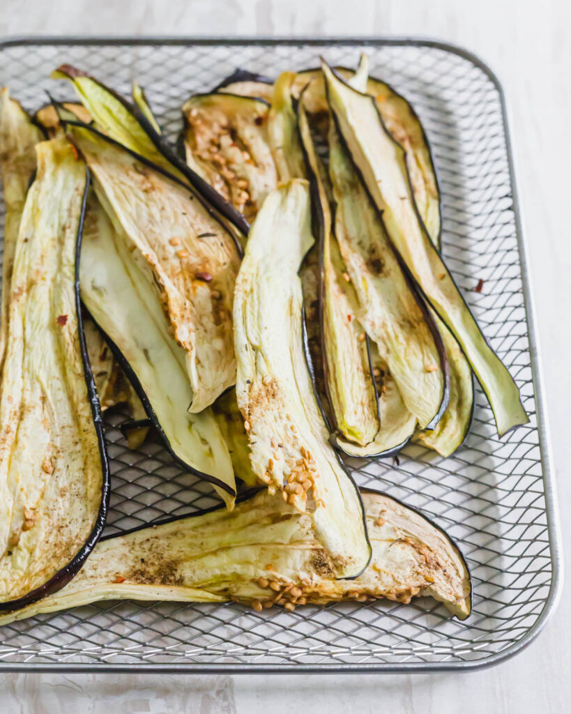Eggplant jerky recipe made in a dehydrator or oven.